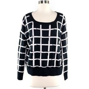 French Connection Black & White Grid Print Sweater